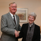 The late Kathleen Fitzgerald (neé O'Connor) with then Ceann Comhairle John O'Donoghue at an event in 2008 marking the 90th anniversary of Ireland's first elected female TD. Kathleen was the most senior member of the former TDs present at the celebration on the day
