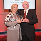 RSA Chairperson Liz O'Donnell with award winner Donal O'Sullivan