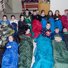Gaelcholáiste Chiarraí Leaving Cert students taking part in Thursday night's sleepover at the all-Irish secondary in Tralee as part of the school's fundraising efforts for homeless centre Arlington Lodge