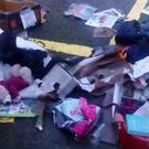 A photo taken by Adele Kelliher of the donations ripped up over Christmas