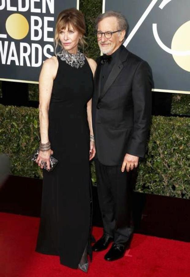Kate Capshaw with her husband Steven Spielberg at the Golden Globes