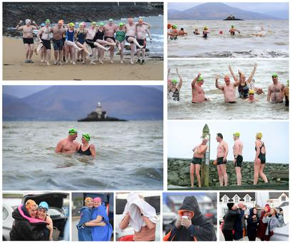 Domnick Walsh's images show the Tralee Swim Club hardshaws in action, including images of Kevin Williams and Bridget Moore in the icy waters; Bob Fitzsimons first in queue for the shower; Elaine Burrows helping Helena Craig to wrap up; Mary Dillane and Amanda Bentley huddling for warmth; and the gang necking a much-needed dram