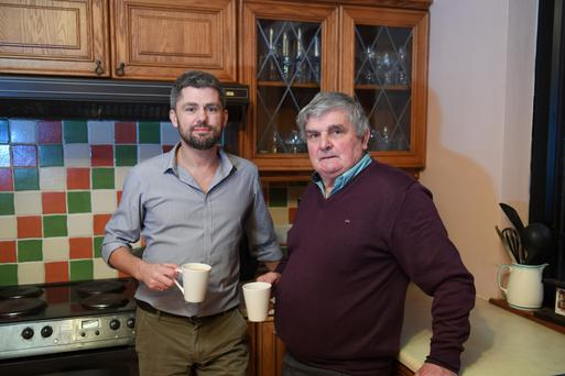 Peter Mangan, founder of the 'Freebird Club' and his father Owen pictured in Owen's home on Annadale Road In Killorglin; Peter and the club are getting ready to welcome 12 older visitors from the London Irish Centre who will stay with 'Freebird' hosts in Killorglin and Kenmare this weekend. Photo by Dominick Walsh