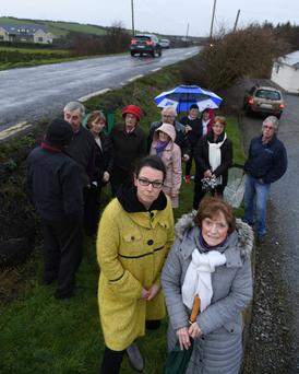 Fine Gael County Councillor Aoife Thornton with Kathleen Ward and fellow residents of the Dale to Rathscannell Road north of Abbeydorney - the focus of an urgent meeting with Transport Minister Shane Ross as safety fears heighten along the blighted route.
