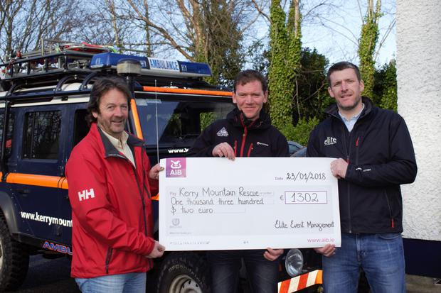 Pictured at the cheque presentation of €1,302 are John O'Sullivan and Piaras Kelly from Kerry Mountain Rescue Team and Oliver Kirwan, Quest Adventure Series (Elite Events).