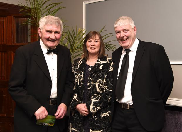 Hall of Fame winner Mick O'Dwyer with Liz and Haulie O'Dwyer at the Kerry Sport Stars and Special Awards Gala Banquet in the INEC, Gleneagles Killarney on Friday. Photo by Michelle Cooper Galvin