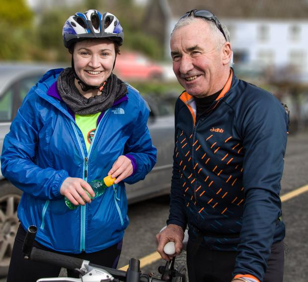 Ita Corridan's husband Tom and their daughter Eimear pictured at last year's Valentine Cycle in Caherdaniel. The annual cycle is held in memory of Ita and in aid of Marymount Hospice.