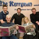 Kerryman staff with the new-look Tralee edition hot off the press on Thursday. Back from left: Fergus Dennehy, editor Kevin Hughes and Simon Brouder. Front: Dónal Nolan and Louise Boyle