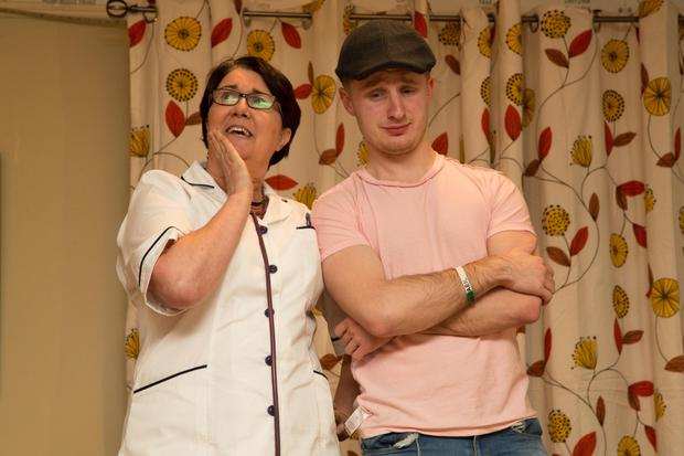 Noelle Kingston (aka the Widow Callaghan) discussing Mar's Pregnancy with Eoghan (played by Eoghan Sheehy) on stage in brilliant comedy form on Friday night