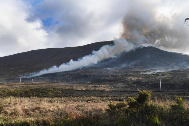 The dramatic gorse fire scene on the slopes of Caherconree last week. Photo by Domnick Walsh
