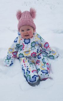 Just chillin' - Lilly Hancock from Killorglin enjoying her first snow day