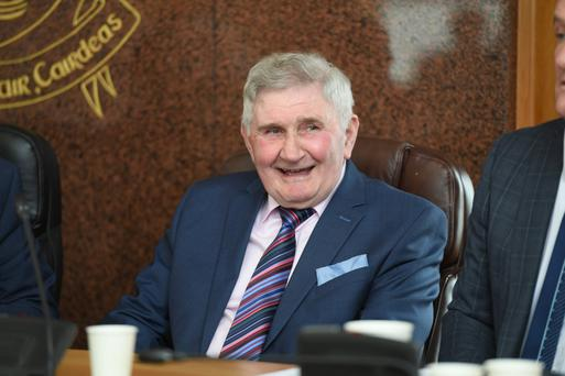 Mick O'Dwyer in suitably happy pose as he listens to speeches during the civic reception in his honour. Photo by Domnick Walsh