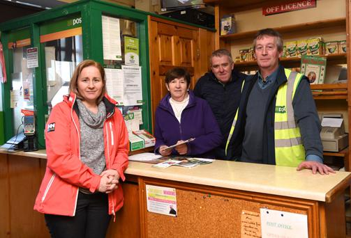 Mary and Gerald O'Sullivan, Postman Pat O'Shea with Cllr Norma Moriarty in Glencar Post Office ahead of an impressive campaign locally to secure the future of the local service. Photo by Michelle Cooper Galvin