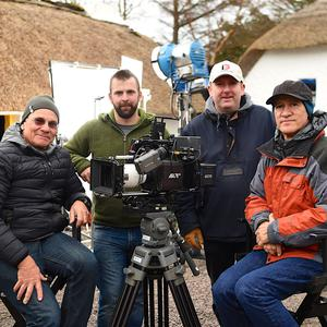 Mo Flam, Chief Lighting Technician, and Roberto Schaefer ASC Director of Photography (seated) who are tutoring in Cinematography and Film Lighting at the Dawn Workshops, supported by KETB Training Centre, on location at The Red Fox Inn, Glenbeigh with (centre) co-founders of the workshops Diarmuid Galvin and Brian Nolan. Photo by Michelle Cooper Galvin