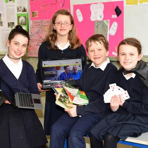 Laoise Foley, Ciara O'Shea, Alan O'Shea and Sarah O'Connor with some of their projects at Fybough NS on Thursday. Photo by Michelle Cooper Galvin