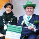Grand Marshall in the Tralee St Patrick's Day parade Dan Horan with Mayor of Tralee Norma Foley and St Patrick's Day Parade Committee chairman Johnny Wall