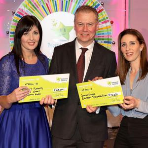 Margaret Flaherty from Milltown won €28,000 while Caitriona Dunne from Tralee also scooped €18,000 on Saturday night's 'Winning Streak' show. Pictured here at the presentation of the winners' cheques were (left to right): Winning Streak game show co-host Marty Whelan; Margaret Flaherty, the winning player who bought the ticket from Londis Church Street, Milltown; National Lottery CEO Dermot Griffin; and Caitriona Dunne, who bought her ticket from Ballymullen Post Office in Tralee.