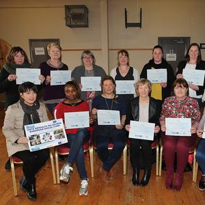 New Directions Graduation group, Caherdaniel. Front l-r; Cathy McKeefry (NCCWN Co-Ordinator), Pamela Lupe, Wendy Donnelly, Ann Clifford, Colette O'Donoghue, Joan Breen. Back; Katie Farrell, Breda O'Connor, Kay O'Connor, Niamh O'Shea, Martina Casey, Aileen O'Donoghue & Karen Hayes (Tutor).
