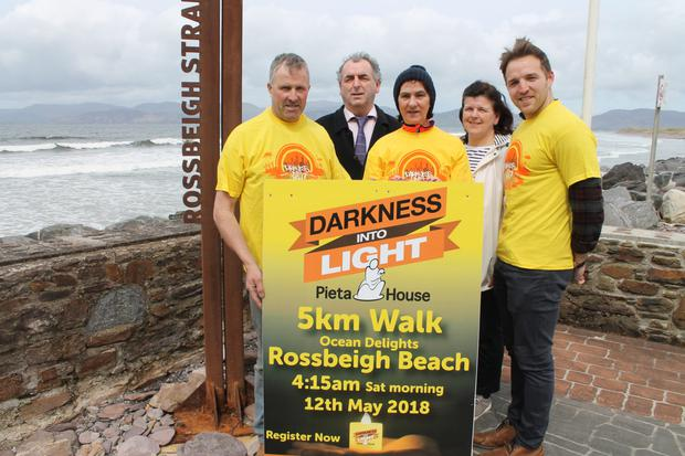 Gerard Burke, Cllr Michael Cahill, Veronica Sugrue, Lorraine Clifford and Darren O'Sullivan at the launch of the Darkness Into Light at Rossbeigh Beach on May 12. Photo by Sinead Kelleher