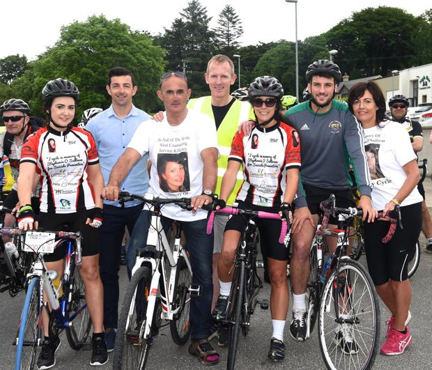 Aidan O'Mahony who officially started the Charity Cycle in memory of Stephenie O'Sullivan and in aid of the Killorglin Mental Health Association and The Samaritans, pictured with Danielle, Dan Joe O'Sullivan, Killorglin Mental Health Association Chairperson Liam Hassett, Lorraine O'Sullivan, John Joe and Bernadette O'Sullivan in Milltown on Sunday. All photos by Michelle Cooper Galvin