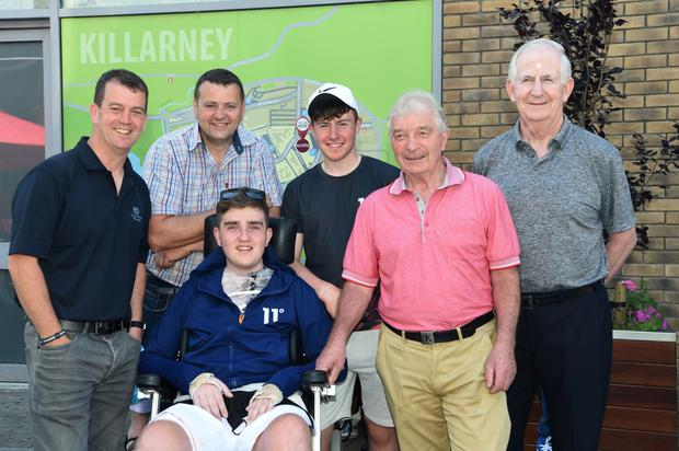 Ian O'Connell (centre) with Muiris O'Donoghue, Derry Healy, Michael Horgan, Denis Geaney and Cathal Walshe at the Ian O'Connell Barbecue in Scott's Gardens, Killarney on Monday