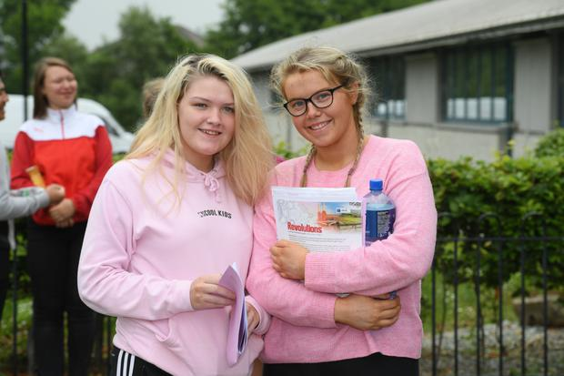 Leaving Certificate students Hannah Lynchehan and Rebecca Ryane from Tralee pictured outside Mercy Mounthawk Secondary School after they had finished their English Paper One exam on Wednesday morning. Photo by Dominick Walsh