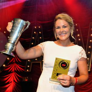 Lily MacMonagle, Killarney Musical Society, winner of the 'Best Actress' award for her role as 'Charity' in Sweet Charity beams with pride after the announcement at the AIMS awards. All photos by Don MacMonagle.