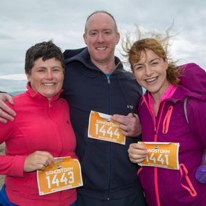 Sheila and Paul Horgan and Fiona Steed who took part in the Sandstorm obstacle course on Ballyheigue Beach on Saturday