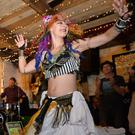 Belly dancer Kate O'Shea from Timoleague adding a little eastern – and West Cork – charm to the Underscore Orkestra's gig in Nellie Fred's pub on Friday night as part of Cuisle Chorca Dhuibhne. Photo by Declan Malone