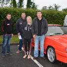 Kevin O'Connor, Denis Delaney, Jennifer Brosnan and Gerry Brosnan getting ready to set off at the Ballymac Vintage Car and Honda 50 run on Friday evening.