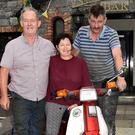 Tom Kelliher and Ger O'Sullivan who presented €1,000 from the Mid Kerry Honda Run 2017 to Agnes Casey for KPFA Buy a Bus Campaign.