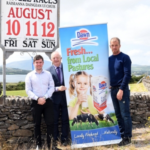 Daniel McCarthy and Colm Sayers of Dingle Race Committee with John O'Sullivan of Dingle Derby sponsors Lee Strand announcing this year's Dingle Races at Ballintaggart