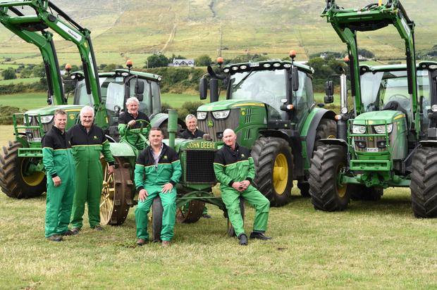 Daniel and Danny Tim O'Sullivan with their John Deere 6135, 6215 and 6130 Tractors with Brendan Ferris on his 1928 John Deere, Johnny Corkery of Geary's Garage Main John Deere dealers for Tractors and Agricultural Machinery, Donal Martin Griffin and Jack Heffernan John Deere sub dealer from Killorglin launching the Threshing Charity Show which will be held on the 9th September in Beaufort. Photo by Michelle Cooper Galvin