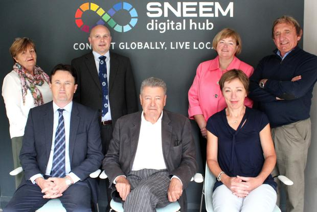 (Front Row from left) Noel Spillane South Kerry Development Partnership; Niall Scott Chairman of Sneem Digital Hub and Catherine Hogan of Enterprise Ireland. Back Row: Cait Sheehan, Aidan Murray Manager Sneem Digital Hub; Julia O'Connor and John Vincent O'Sullivan. Photo by Mary O'Neill