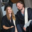 Pictured at the Coláiste Stiofáin Naofa (CSN) College of Further Education graduation ceremony are couple Mary Taylor from Kenmare and Liam Brick from Barrow who studied Social Studies and Music Management and Sound. On Friday over 500 students of CSN graduated, a celebration of students achieving their college place through link schemes with UCC, CIT and other UK and Irish colleges. Photo by Diane Cusack