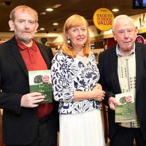 Breda Joy at her Eat the Moon signing with her brother Brendan, father Brendan Str, niece Mairead and sister in law Margaret at Eason's, Main Street, Killarney on Saturday. Photo by Michelle Cooper Galvin