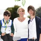 Firies National School pupil Ryan Vickers with his medals won at the National Community Games, with Principal Claire Doyle, Maura Culloty County Community Games and teacher at Firies National School. Photo Michelle Cooper Galvin