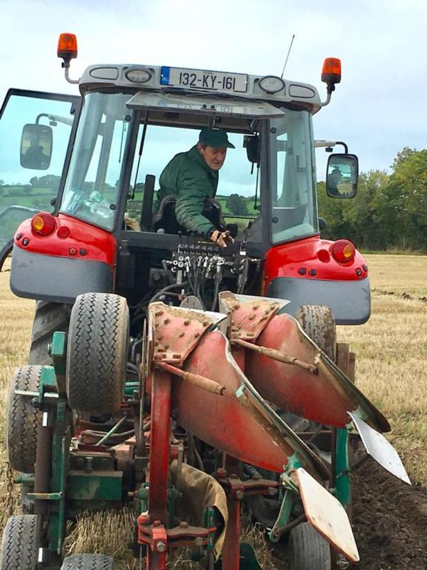 Michael O'Halloran pictured taking part in the Five Nations Ploughing Championships in Derry