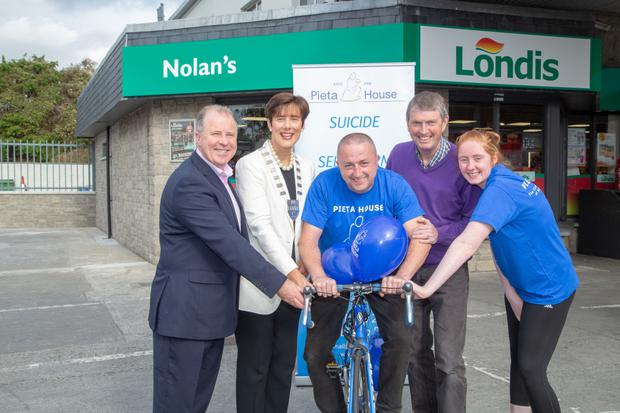 Launching the Pieta House Cycle at Nolan's Londis, North Circular Road, Tralee, on Monday were Con O'Connor (Pieta House Tralee), Mayor Norma Moriarty, Vincent Lynch, Niall Nolan and Sinead O'Connor of Nolan's.