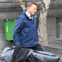 Detective Garda Paul Walsh brings the plastic wrapped crow banger – which was at the centre of the row between Michael Ferris and Anthony O'Mahony – into Tralee courthouse. Photo Domnick Walsh