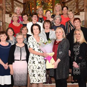 Máire Flynn Director of Nursing Killarney Community Hospital (sixth from left) making a special presentation to Dr Patricia Mangan to mark Dr Patrica's retirement after 38 years, with present and former nursing staff Margaret Lawlor, Noreen Mackessey, Breda O'Connor, Helen Costello, Noreen Joy, Teresa Clifford (second row) Therese Kerins, Mary Kelliher, Eileen Doody, Geraldine Nagle (third row from left) Maureen Creedon, Sheila Moynihan, Nancy Dineen, Eileen Cronin (fourth row from left) Nora Riordan,Noreen Daly, Geraldine Murphy (back) Catherine O'Shea, Catherine O'Reilly and Trish Wright at The Plaza Hotel, Killarney on Friday. Photo by Michelle Cooper Galvin