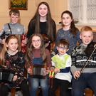 Eilis Tangney, Cora Lee and Nathann Howe, Paddy Tangney (back from left) Dylan Counihan, Katie Howe and Rebecca Howe at the Rambling House in Listry Community Centre on Saturday. Photo by Michelle Cooper Galvin