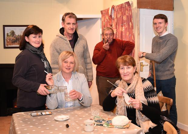 Lorraine O'Shea, Mary Clifford (seated) and Rosemary Mangan, Padraig Clifford, Noel O'Sullivan and David O'Shea in rehearsals for 'The Country Boy' which will be on December 4, 5, 7 and 8 in the Beaufort Community Centre in aid of the Kerry Mental Health Association Killorglin branch. Photo by Michelle Cooper Galvin
