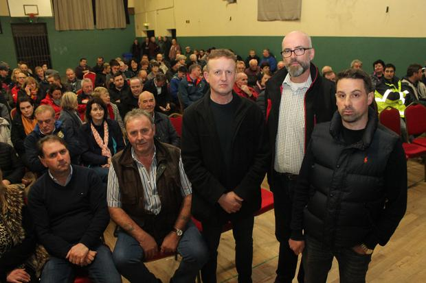 Sliabh Luachra Awareness Group's Donal Linehan, Mike Fleming, Donal Vaughan, Fred O'Sullivan and Sean O'Rourke at Monday night's meeting in Gneeveguilla. Photo Sinead Kelleher