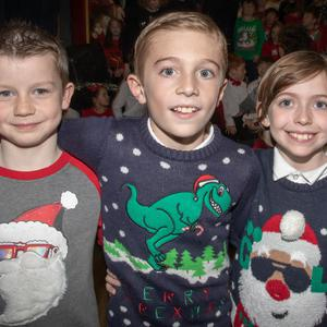 Jason Gaynor, Brendan Dunne and Ryan O'Sullivan, pupils who took part in Glenderry NS Late Late Toy Show at Ballyheigue Community Centre on Wednesday evening