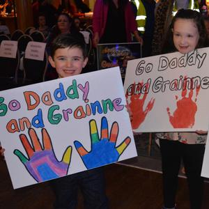 Eoghanán, Fémhe and Donagh O'Sullivan pictured showing their support for 'Daddy & Gráinne' at the Ballyroe Strictly Come Dancing on Saturday evening in Ballyroe Heights Hotel