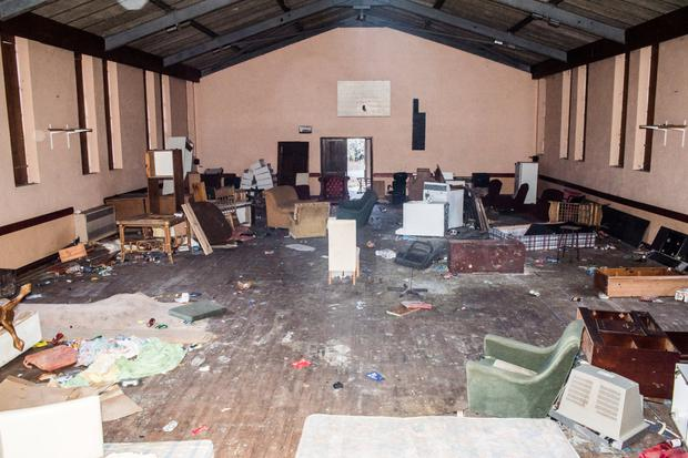 Some of the damage caused by vandals at the old convent hall in Cahersiveen. Photo by Christy Riordan