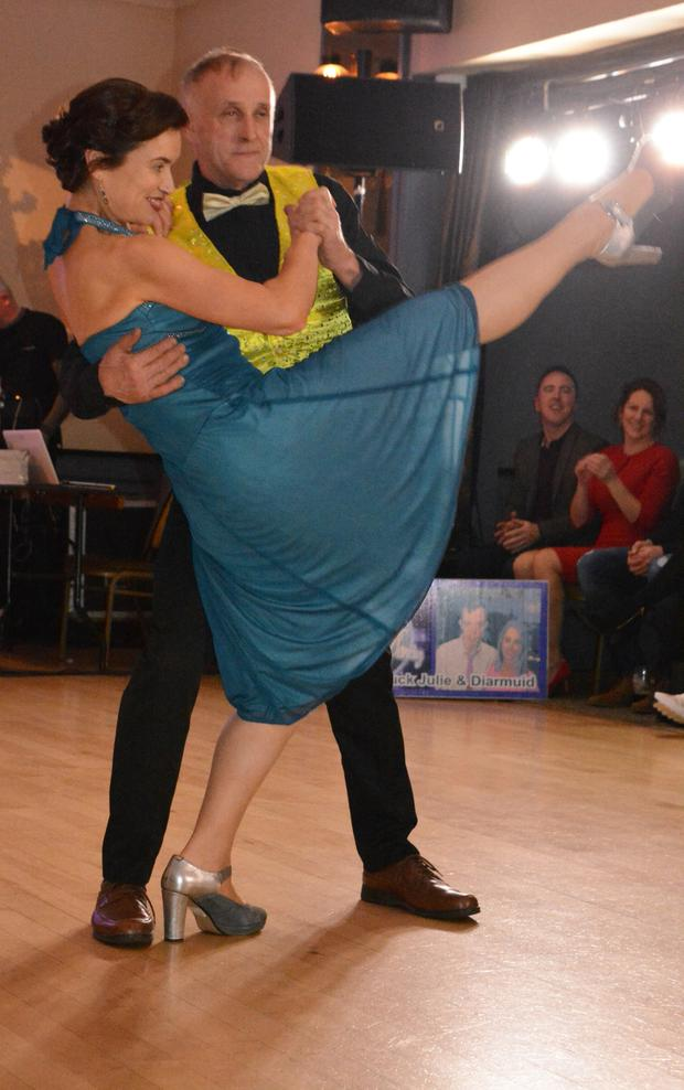Dancers Pat and Annette pictured showing off their moves at the 2019 Strictly Love Dancing in Ballygarry on Saturday night
