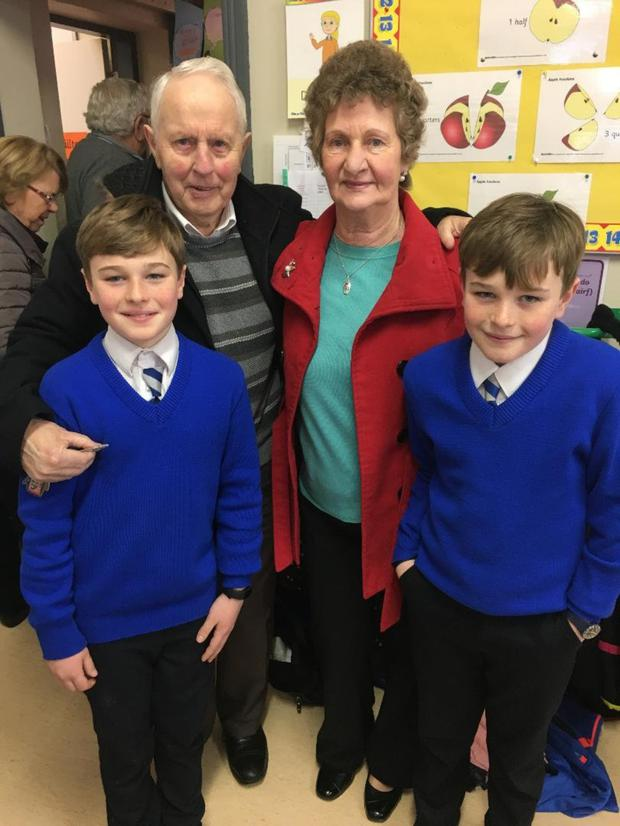 Dan and Annette Hurley pictured with their grandsons – Ryan and Cillian – at the Grandparents Day in Scoil Treasa Naofa in Kilflynn