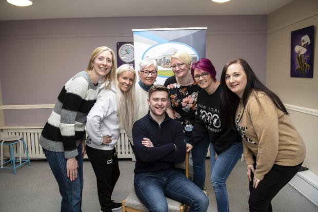 'Lip along to the Song' in aid of Áras Mhuire Nursing Home in Listowel was launched in Áras Mhuire Nursing Home Listowel today by Brendan Fuller from Radio Kerry and Back L/R Diana Doyle, Marlyn O'Shea, Catriona O'Sullivan, Mary Toomey, Siobhan Dowling and Nicola Heffernan. Photo by Domnick Walsh Eye Focus.